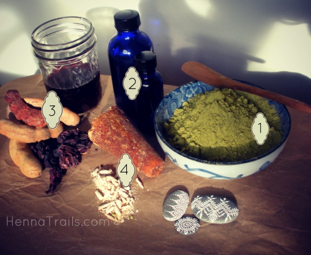 Ingredients in Henna Trails' henne paste, mixed fresh and in house.