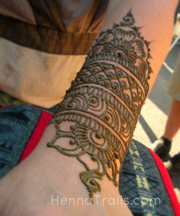 Floral cuff henna for her birthday at the market.