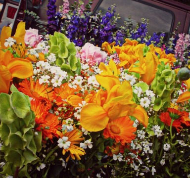 fresh and locally grown flower bouquets at the Thursday Night Market spring 2013